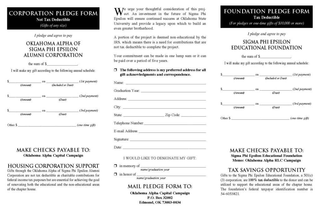Pledge Form  Sigma Phi Epsilon Oklahoma Alpha Chapter  Sigma Phi